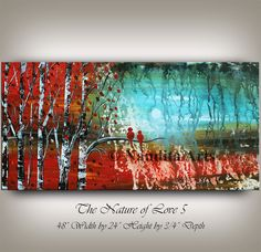 PAINTINGS, Large Wall Art, ABSTRACT PAINTING, Modern Wall Art Decor Autumn Red Contemporary Art, Abstract Art, Home Decor, Wall Hanging by Nandita Albright  This abstract oil painting is an original, high quality 100% hand painted oil/acrylic painting on canvas. All of my modern large wall art is mounted and ready to hang. This wall hanging will look beautiful as office decor, home decor, in any lobby or building, or even in the bedroom, living room, or childrens room decor. I have a vast…