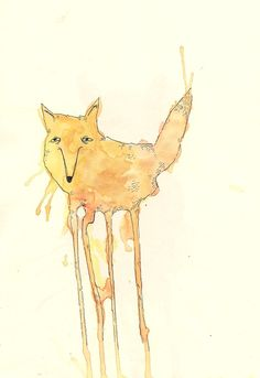 fox. pen + watercolor
