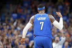 Oklahoma City's Carmelo Anthony (7) celebrates a 3-pointer during an NBA basketball game between the Oklahoma City Thunder and the New York Knicks at Chesapeake Energy Arena in Oklahoma City, Thursday, Oct. 19, 2017. Oklahoma City won 105-84. Photo by Bryan Terry, The Oklahoman