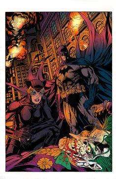 Batman, Catwoman & The Joker - line art: Al Rio, color: Scott Lewis Catwoman Y Batman, Batman 1, Catwoman Selina Kyle, Female Villains, Univers Dc, Pop Culture Art, Batman Universe, Batman The Dark Knight, Comic Pictures