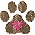 Pawprint Heart Applique Design