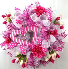 Deco Mesh Valentine Wreath Hot Pink White Heart