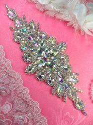 "DH10 Bridal Sash Applique Crystal Aurora Borealis AB Rhinestone 9"""
