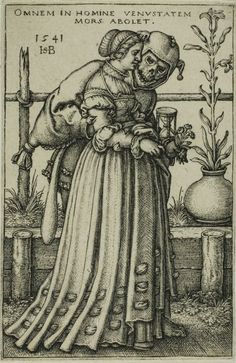 Hans Sebald Beham  German, 1500-1550  The Lady and Death  Her skirt!