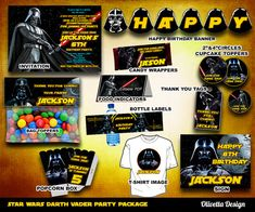 Star Wars Darth Vader Birthday Party Package, Printable Party Customized  - Invitation Banner Food Tent Labels Wrappers - Digital Files