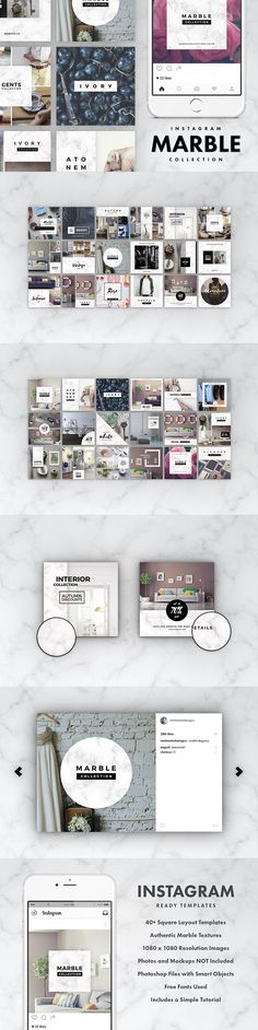 Instagram Marble Pack. Social Media Templates