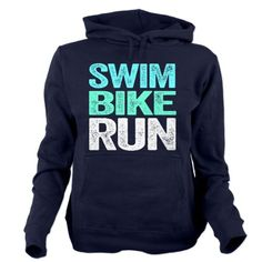 Triathlon. Swim. Bike. Run. Women's Hooded Sweatshirt. #navy #fitness #athlete