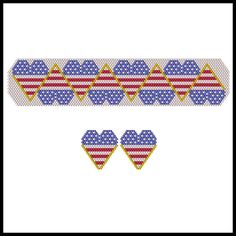 Hearty Flags Reflections Bracelet & Earrings | Bead-Patterns.com