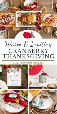 Set up a fresh and unique Thanksgiving table in a Cranberry red color scheme with gold and mint accents. Perfect for an intimate family gathering. Get the table setting, dessert table, backdrop, and bar cart ideas now at minteventdesign.com!