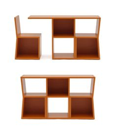 """""""Trick"""" is a bookcase which transforms into a console table with two chairs. Size: W1310xH770xD380 Manufacturer: Campeggi Srl"""