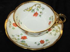 ROYAL ALBERT CROWN CHINA ORANGE PAINT GOLD WHITE ART DECO TEA CUP AND SAUCER