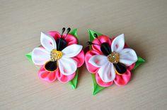 Резинка для волос Мастер класс из лент бабочки DIY hair ornaments handma...
