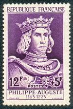 Philippe Auguste 1165-1223 - Timbre de 1955