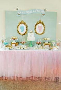 Royal Baby Shower Dessert Table - so elegant for a baby boy or girl (or both!) #babyshower #desserttable