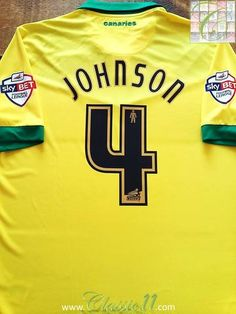 Relive Bradley Johnson's Sky Bet Championship Play-Off Final with this original Errea Norwich City home football shirt. Bet Football, Football Jerseys, Bradley Johnson, Cameron Jerome, Norwich City Football, Russell Martin, Ipswich Town, Football Memorabilia, League Gaming