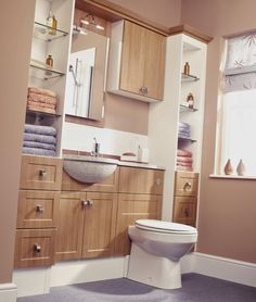 Oak Wooden Vanity With Extended Sink And Open Storage