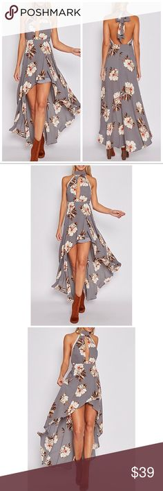 Halter Neck Floral High Low Gray Dress ★Featuring a high neck with a small spilt opening from the neck down to just above the waist with stunning lace detailing on the top of the dress with the style falling from the waist down. The dress is fully lined from the bust down to just above where the spilt opens up. 🔴 NOTE: runs big🔴 Dresses High Low