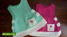 VESTIDO - MANDIL para las niñas (de 3 a 18 meses) Tejido con dos agujas ...