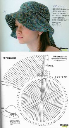 Knitting the summer hat with a crochet hook Crochet Hooded Scarf, Crochet Beret, Crochet Motifs, Diy Crochet, Crochet Stitches, Knitted Hats, Sombrero A Crochet, Knitting Patterns, Crochet Patterns