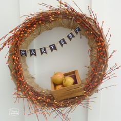 Fall Apple Harvest Wreath with DIY Mini Chalkboard Burlap Bunting at thehappyhousie