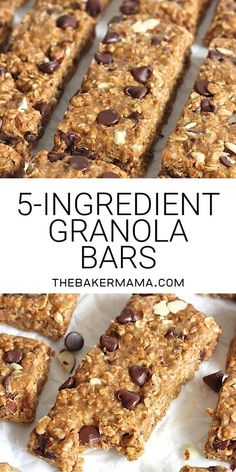 Just 5 ingredients and about 5 minutes is all it takes to make these chewy crunchy oh so tasty granola bars and you can make them with peanut butter or almond butter No baking required homemadegranolabars easysnackrecipes Vegan Granola Bars, Oatmeal Bars Healthy, Granola Bars Peanut Butter, Chocolate Chip Granola Bars, No Bake Granola Bars, Granola Bar Recipes, Healthy Homemade Granola Bars, Homemade Breakfast Bars, Granola Bar Recipe Easy