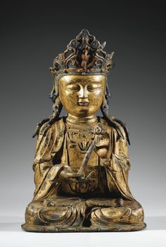 A GILT-LACQUERED BRONZE FIGURE OF BODHISATTVA, MING DYNASTY.