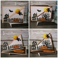 Fun Fold Easel Halloween Card made with Halloween Nights Designer Series Paper (DSP), Halloween Scares Stamp Set, Spooky Fun Stamp Set, and Halloween Scares Edgelits Dies,