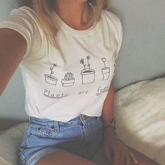 Pflanzen sind Freunde Tshirt Tumblr Shirt süße von JollyPearShop
