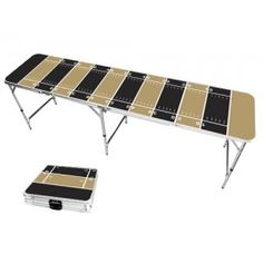 Dark Gold & Black Football Field 8 Foot Portable Folding Tailgate Beer Pong Table from TailgateGiant.com