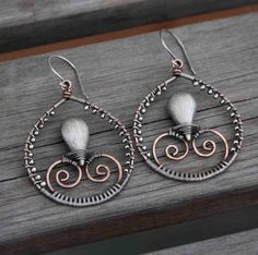 Brushed Sterling Silver and Copper Wire Wrapped by AlaskaFirefly, $44.00