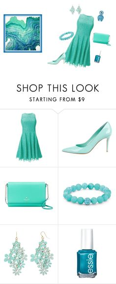 """Blue is In"" by tigerlover12 ❤ liked on Polyvore featuring Shoshanna, Gianvito Rossi, Kate Spade, Palm Beach Jewelry, Decree, Essie and Marc Jacobs"