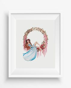 """Dreaming Girl,Watercolor,home decor,girl room decor,instant download,jpeg,8""""10""""inch,300 dpi,high resolution,"""