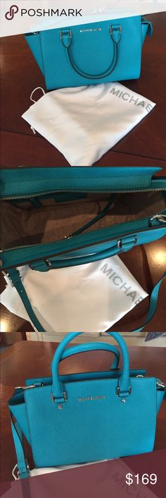 Michael Kors Handbag Selma Saffiano Leather Satchel.  Real color, structured shape.  Purse has never been used. Michael Kors Bags Satchels