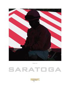 """""""Rider Up"""" Although the call for """"riders up"""" is heard around tracks all across the country, this image of a pensive jockey on the way from the paddock along the shaded walkway to the post parade is distinctly Saratoga."""