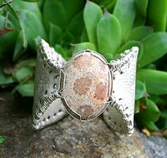 Deer Leather Cuff Bracelet with Fossilized Coral - by Deborah & Russell Shamah