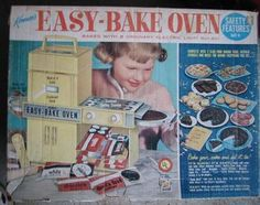 Easy-Bake Oven--My mother said it took too long to bake with just a lightbulb-- so we made up the little cakes and baked them in the real oven.