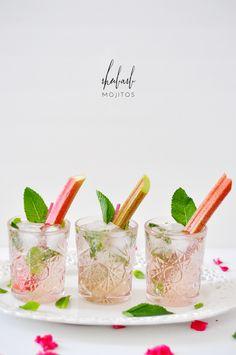 Elderflower Rhubarb Mojitos | lark & linen