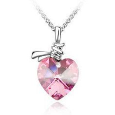 The Heart of Ocean Shape Crystal Diamond Necklace- 5 Color Available Diamond Pendant Necklace, Crystal Pendant, Crystal Diamond, Vintage Heart, Heart Shapes, Swarovski Crystals, Fine Jewelry, Accessories, Hot Pink