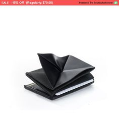 black leather wallet  thin mens wallet  mens slim by KisimBags