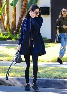 Splurge: Kendall Jenner's Los Angeles Acne Navy Long Bomber Jacket and Alexander Wang Mini Rockie Bag