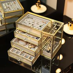 Four-layer Gold Frame Glass Jewelry Box Multi-Layered Jewelry Organizer Multi-fuction Jewlery Storage Case Jewellery Storage, Jewellery Display, Jewelry Organization, Storage Organization, Box Storage, Jewelry Drawer, Jewelry Armoire, Jewellery Box, Jewelery