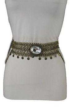 Trendy Fashion Jewelry Women Ethnic Fashion Belt Hip High Waist Antique Metal Wide Chains S M Gold