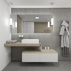 Skandinávská koupelna NIALL | Scandinavian bathroom NIALL #bathroom #bath #design #bathroominspiration #koupelna #šedá #gray #woodwall #drevo #dub #perfectodesign