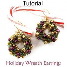Christmas Holiday Wreath Earrings PDF Beading Tutorial Pattern