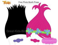 Trolls Photo Booth Props for our little Trolls fans. Kids will have tons of fun taking pictures with these props. Trolls Birthday Party, Troll Party, 2nd Birthday Parties, Birthday Fun, Birthday Ideas, Themed Parties, Diy Photo Booth Props, Party Props, Party Ideas