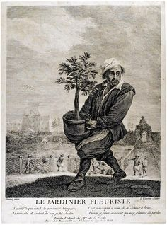 LE VASSEUR, Jean Charles (after Teniers) / The flower gardener / engraving African English, Plant Therapy, 18th Century, Fantasy Art, Garden Design, History, Drawings, Sultan, Etchings