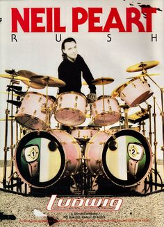 Neil Peart is best known as the drummer for the band RUSH. Heirs arguably the best drummer the world has ever known. Rock Roll, Rush Music, Modern Drummer, Rush Band, Ludwig Drums, Vintage Drums, Vintage Ads, Neil Peart, Drum Solo