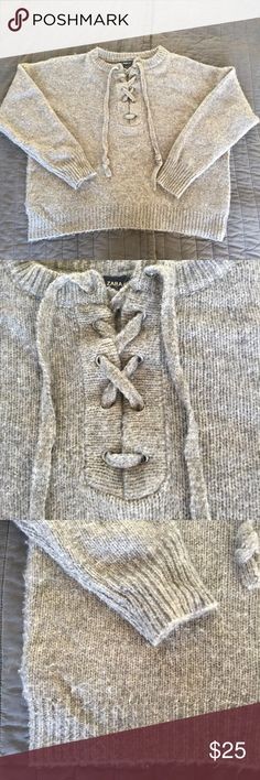 Zara grey wool sweater lace up large Super cute oversized sweater from Zara. Grey wool blend with lace up front. Some polling as is common with these type of sweaters. Lots of life left! Zara Sweaters Crew & Scoop Necks