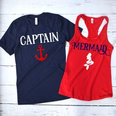 Her Captain His Mermaid Couple's Shirts – HotteesCo