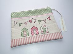 beach hut zip pouch by The Lemon Pony